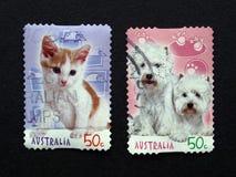 Australiensiska stolpestämplar med djur Royaltyfri Bild