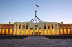 Australiensiskt parlamenthus i Canberra Arkivfoto