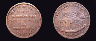 Australiensiskt sällan 1860 TRÄ för encentmynttecken W.D. Royaltyfri Fotografi