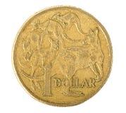 Australier 1 dollar mynt Arkivbilder