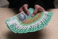 Australier 100 dollarräkningar Fotografering för Bildbyråer
