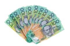 Australier eine 100-Dollar-Anmerkung berechnet Geld Stockbilder