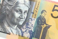 Australier femtio dollar sedel över vit bakgrund Royaltyfri Bild