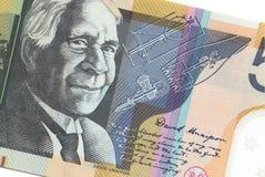 Australier femtio dollar sedel på vit bakgrund Royaltyfria Bilder