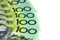 Australier hundra dollarräkningar över vit Fotografering för Bildbyråer