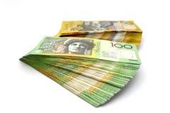 Australier hundra dollarräkningar och femtio dollarräkningar Arkivfoto