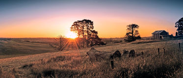 Australier - lantgård på solnedgången Arkivbilder