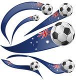 Australijczyk flaga whit piłki nożnej ustalona piłka Zdjęcia Stock