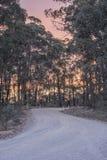 Australijczyk odpieczętowana wiejska droga podczas zmierzchu Zdjęcia Royalty Free