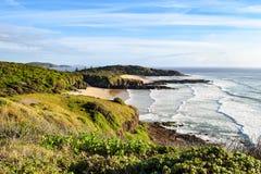 Australijczyk plażowa linia brzegowa przy 'półksiężyc głową' zdjęcia stock