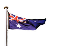 australijczyka flaga odosobniony biel Zdjęcie Stock