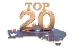 Australijczyka wierzchołka 20 pojęcie, 3D rendering Obrazy Stock