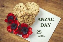 Australijscy ciastka Anzac więc my z Anzac dniem no zapominają Zdjęcia Royalty Free