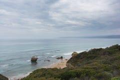 Australijska linia brzegowa na chmurnym dniu Zdjęcie Royalty Free