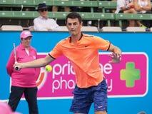 Australijski gracz w tenisa Bernard Tomic narządzanie dla australianu open przy Kooyong Zdjęcie Royalty Free