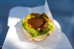 Australijski tradycyjny mięsny kulebiak z sosem Obraz Stock