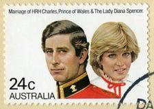 Australijski znaczek pocztowy Świętuje małżeństwo Charles i zdjęcia royalty free