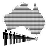 Australisch aantal arbeidskrachten met kaart Stock Foto's
