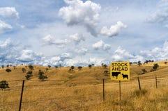 Australisch binnenland met Voorraad vooruit verkeersteken stock afbeeldingen