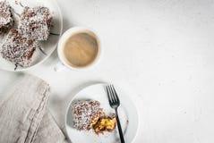 Australisch dessert Lamington Royalty-vrije Stock Afbeeldingen