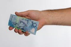 10 Australisch dollarbankbiljet in achterhand Royalty-vrije Stock Afbeeldingen
