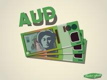 Australisch het document van het dollarsgeld minimaal vector grafisch ontwerp Royalty-vrije Stock Foto