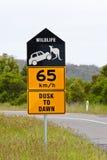 Australisch horloge uit voor het wildverkeersteken Stock Afbeelding