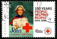 Australische Briefmarke des roten Kreuzes Stockfotografie