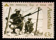 Australische Briefmarke, die 50. Jahrestagsbelagerung von Tobruk darstellt Lizenzfreies Stockbild