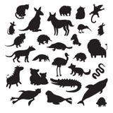 Australische die dierensilhouetten, op witte vectorillustratie worden geïsoleerd als achtergrond Stock Afbeeldingen