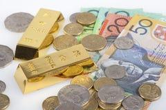 Australische Dollar en goudstaven Stock Afbeelding