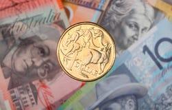 Australische dollarmuntstuk en bankbiljetten Royalty-vrije Stock Foto