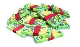 Australische Dollarnota's Verspreide Stapel Stock Afbeelding