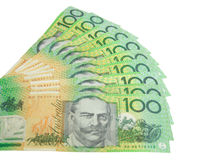 Australische dollars die op wit worden geïsoleerdw Royalty-vrije Stock Fotografie