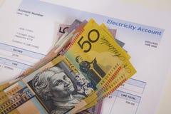 Australische Elektriciteitsrekening stock foto