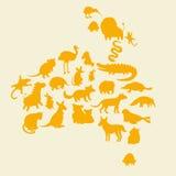 Australische geplaatste dierensilhouetten Royalty-vrije Stock Foto