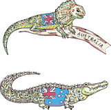 Australische hagedis en krokodil Stock Fotografie