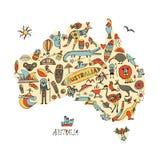 Australische Karte mit Ikonen stellte ein, skizziert für Ihr Design Lizenzfreie Stockfotografie