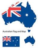 Australische Karte und Markierungsfahne Lizenzfreie Stockfotos