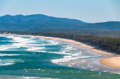 Australische kustlijn dichtbij Nambucca-Hoofden royalty-vrije stock afbeeldingen