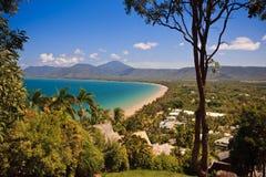 Australische kustlijn met gouden stranden stock afbeeldingen