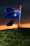 Australische Markierungsfahne auf einem Hügel Stockfotos