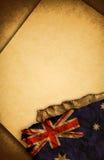 Australische Markierungsfahne und altes Papier stockfotos
