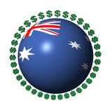 Australische Markierungsfahnenkugel mit Dollar Lizenzfreies Stockbild