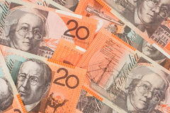 Australische Munt $20 de Achtergrond van Bankbiljetten Stock Afbeeldingen
