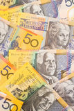 Australische Munt $50 de Achtergrond van Bankbiljetten Stock Afbeeldingen