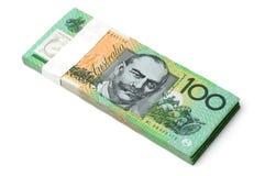 Australische Munt $100 Bankbiljetten Stock Afbeeldingen