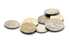 Australische muntstukken die op wit worden geïsoleerde Stock Foto's