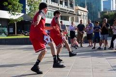 2016 australische offen- Melbourne-Straßen-Ausführende Stockfotos