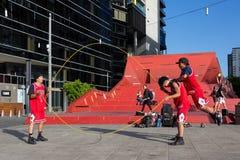 2016 australische offen- Melbourne-Straßen-Ausführende Lizenzfreie Stockfotos